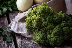Raw broccoli, onions and corn