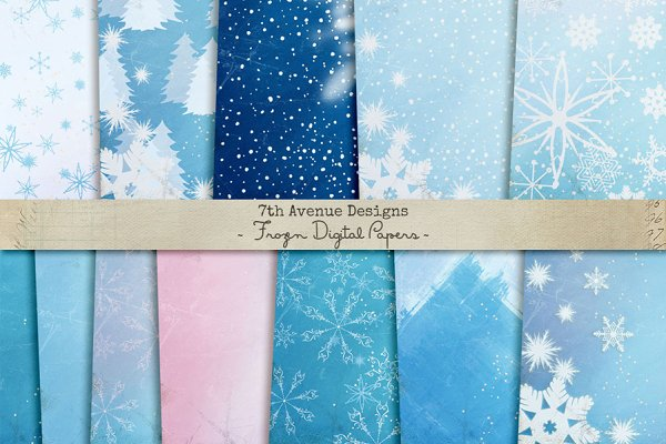 Frozen Digital Papers Custom Designed Graphic Patterns Creative Market