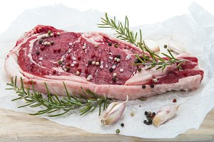 T-bone steak isolated over white