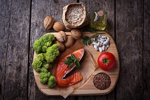 Cholesterol diet. Healthy food