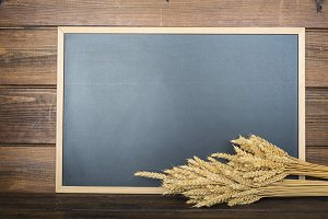 Chalkboard with a copy space and cereals