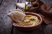 Traditional hummus and pita