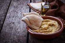 Traditional hummus and pita