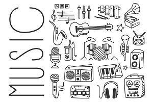 Musical Instruments in Hand drawn