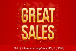 Set of 9 banners template