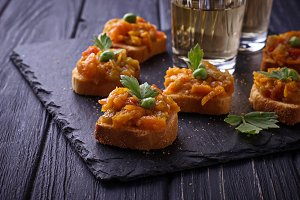 Canape with eggplant caviar