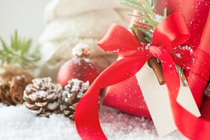 Christmas concept with closeup gift