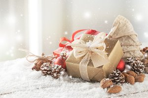 Christmas concept with gift, deco