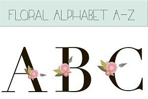 Floral monogram letters clip art