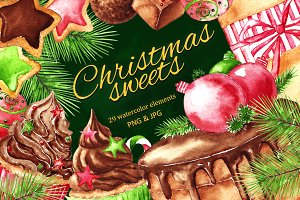 Christmas sweets - watercolor set