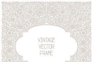 Vintage floral frame lineart