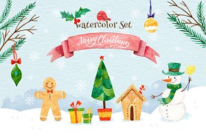 Merry Christmas. Watercolor Set