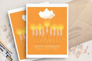 Hanukkah greeting vector card