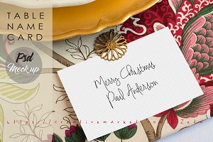 Table name card PSD. Xmas