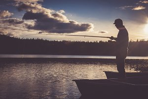 Fisherman casting his line.