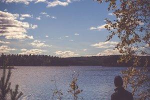 Man looking over Swedish Lake