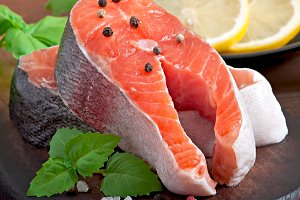 Fresh and raw steaks trout