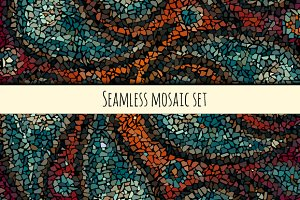 Set of 6 seamless mosaic patterns.
