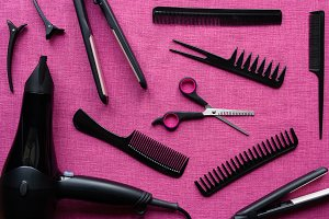hairdresser set on pink background