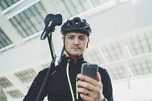 Outdoor portrait of cyclist man