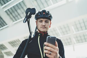 Outdoor portrait of cyclist man
