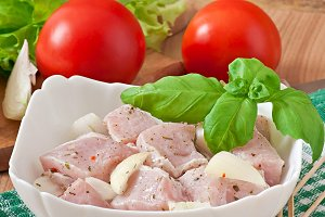 Marinated meat for barbecue