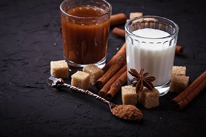 Cocoa, milk, sugar and cinnamon