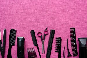 hairdressing tools, space for text
