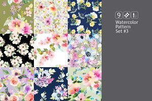 9 watercolor seamless patterns #3