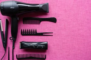 set of tools for hairdressing