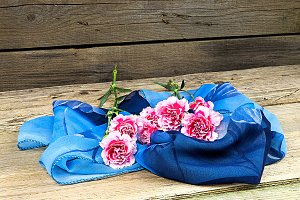 Carnations with blue scarf