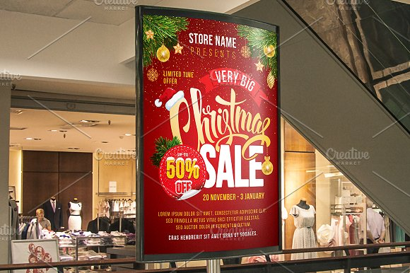 christmas sale poster template flyer templates creative market