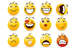 Set of smileys. Vector illustration