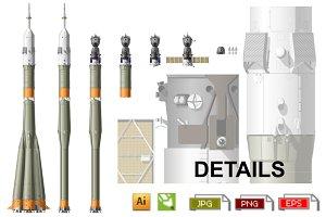 "Hi-detailed ""Soyuz"" space rocket"