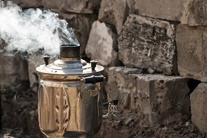 Steaming samovar.
