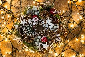 Wreath and Christmas lights