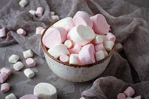White and pink marshmallows