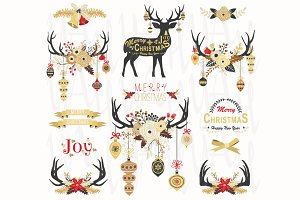 Gold Christmas Antlers Elements