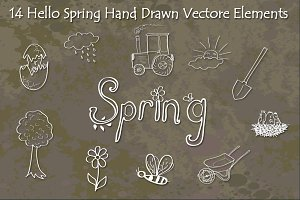 Hello Spring Hand Drawn Vectors
