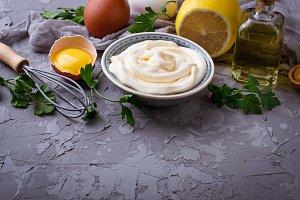 Homemade mayonnaise sauce