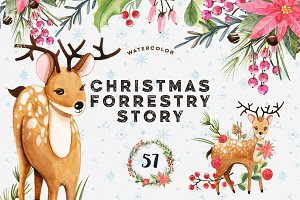 Watercolor Christmas Forrestry Story