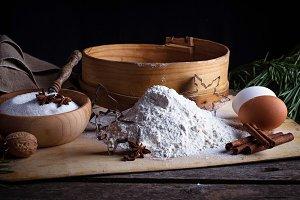 Flour, sieve and eggs