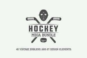 Vintage hockey emblems and elements.