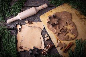 Christmas gingerbread cookies dough