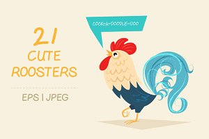 21 cards with cute roosters
