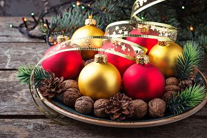 Red and golden Christmas balls