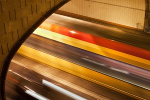 Night Traffic Tunnel Light Trails