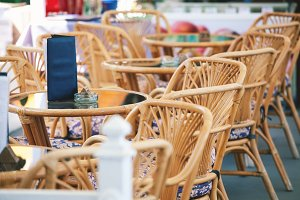 Empty summer cafe, shallow depth of field