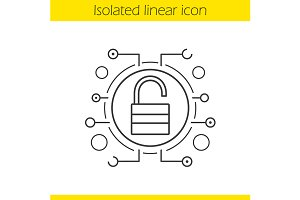 Cyber security linear icon. Vector