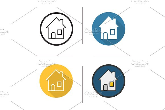 House. 4 icons. Vector - Icons